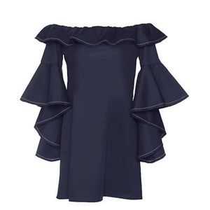 Alexis navy blue off shoulder ruffle sleeve, M